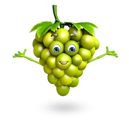 grape fruit: 3d rendered illustration of grapes cartoon character