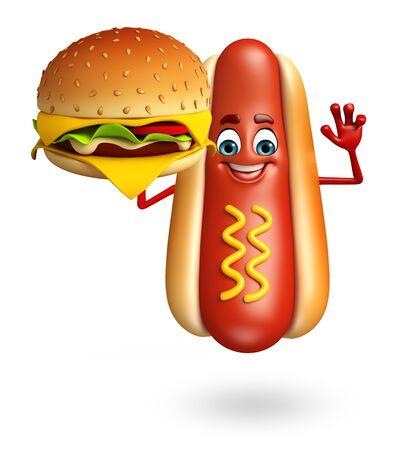 ホットドッグの漫画のキャラクターの 3 d レンダリングされたイラストレーション 写真素材