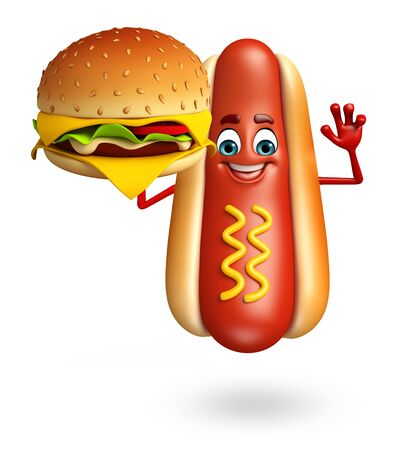 3d rendered illustration of hot dog cartoon character