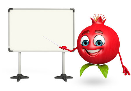 display board: 3d rendered illustration of pomegranate cartoon character  with display board Stock Photo