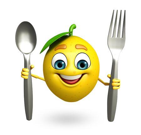limon caricatura: 3d rindió la ilustración de personaje de dibujos animados de limón