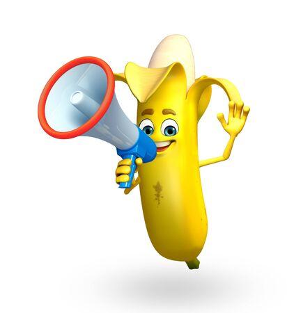 cartoonize: 3d rendered illustration of cartoon character of banana Stock Photo