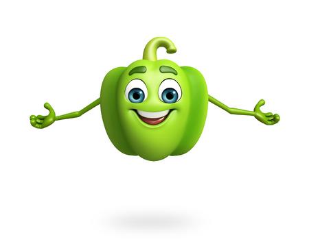 capsicum: 3d rendered illustration of cartoon character of capsicum