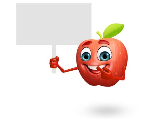 cartoonize: 3d rendered illustration of apple cartoon character with sign