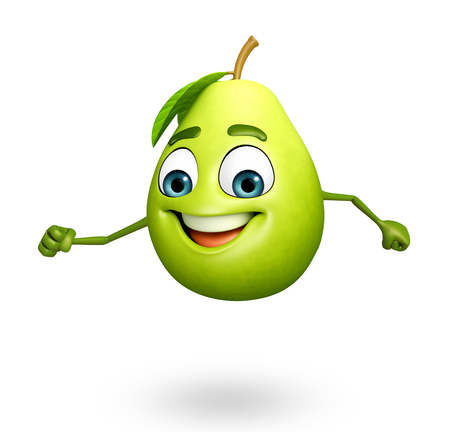 guava: 3d rendered illustration of guava cartoon character