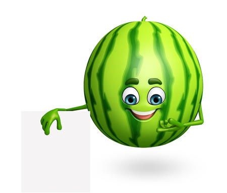 3d rendered illustration of watermelon cartoon character