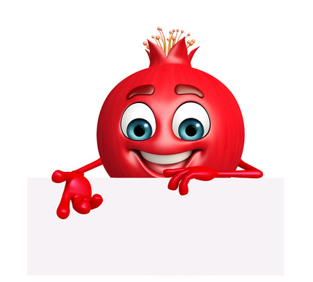 3d rendered illustration of pomegranate cartoon character with sign