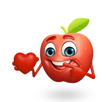cartoonize: 3d rendered illustration of apple cartoon character with heart