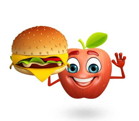 cartoonize: 3d rendered illustration of apple cartoon character with burger