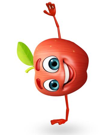cartoonize: 3d rendered illustration of apple cartoon character Stock Photo