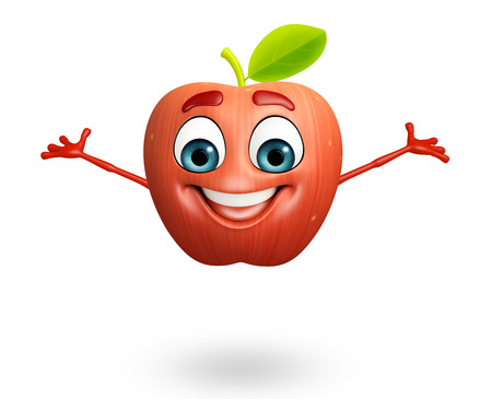 cartoonize: 3d rendered illustration of apple cartoon character Stock Photo