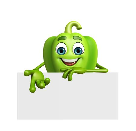 capsicum: 3d rendered illustration of capsicum cartoon character