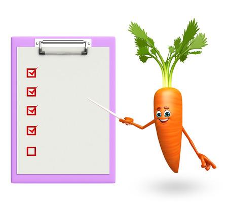 zanahoria caricatura: 3d rindi� la ilustraci�n de personaje de dibujos animados de zanahoria