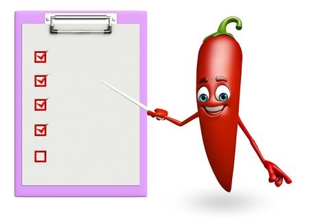 spicy mascot: 3d rendered illustration of red chili cartoon character