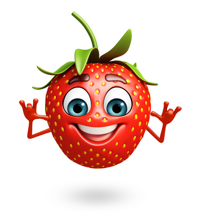 strawberry cartoon: 3d rendered illustration of strawberry cartoon character