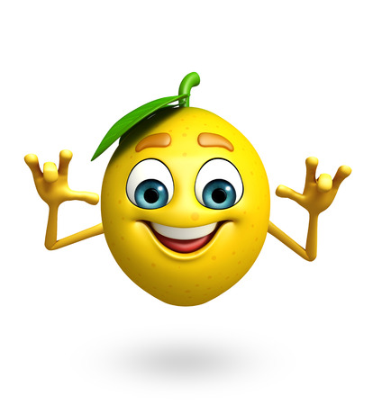 antioxidant: 3d rendered illustration of lemon cartoon character