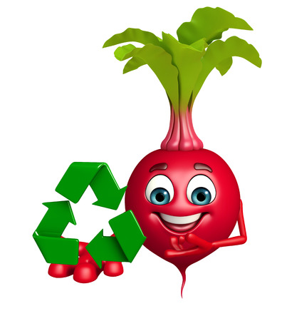 beet root: 3d rendered illustration of beet root cartoon character with recycling icon Stock Photo