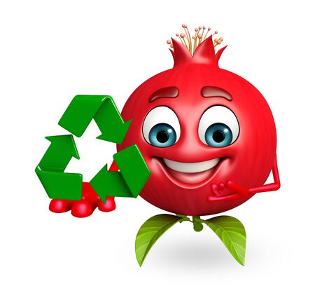 cartoonize: 3d rendered illustration of pomegranate cartoon character with recycling icon