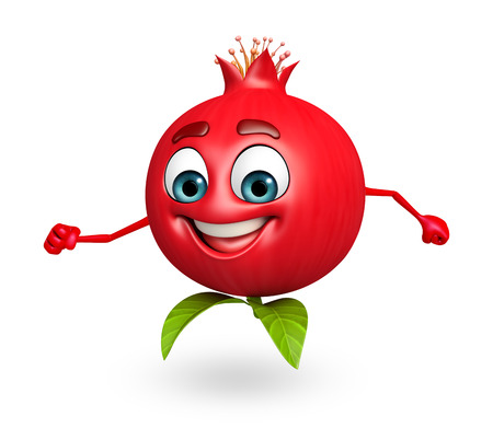 pomegranate: 3d rendered illustration of pomegranate cartoon character