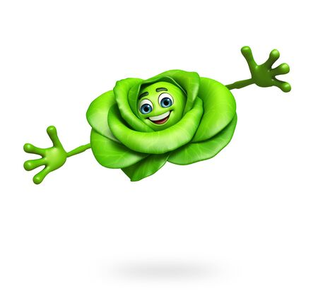 antioxidant: 3d rendered illustration of cartoon character of cabbage Stock Photo