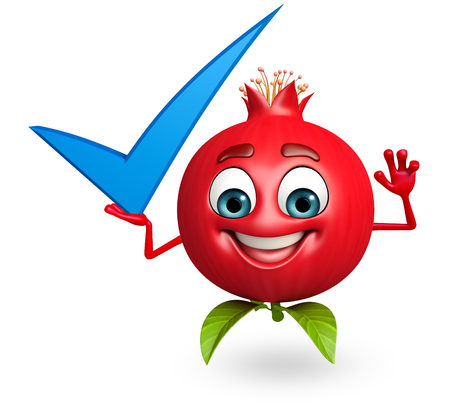 cartoonize: 3d rendered illustration of pomegranate cartoon character with yes sign Stock Photo