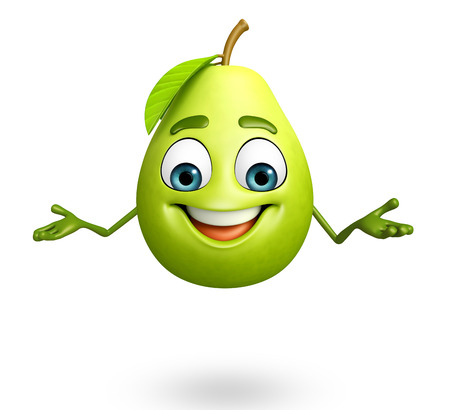 guava fruit: 3d rendered illustration of guava cartoon character