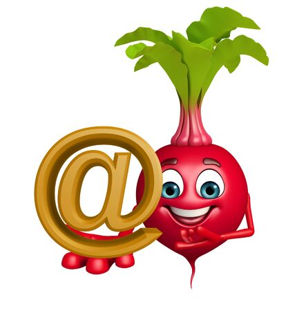 beet root: 3d rendered illustration of cartoon character of beet root with at  the rate sign