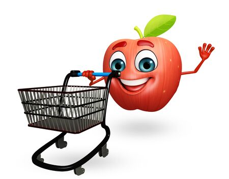 cartoonize: 3d rendered illustration of apple cartoon character with trolley Stock Photo