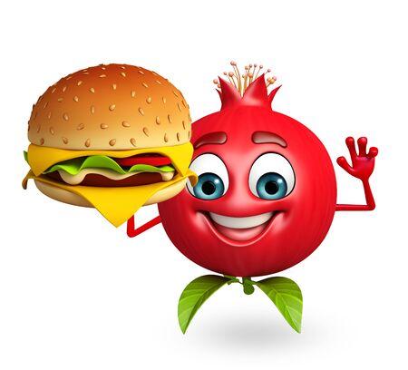 vegetarian hamburger: 3d rendered illustration of pomegranate cartoon character with burger