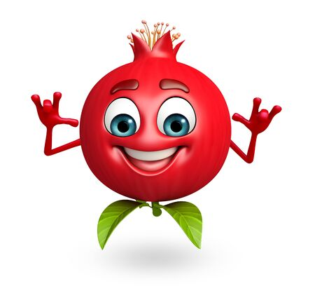 cartoonize: 3d rendered illustration of pomegranate cartoon character
