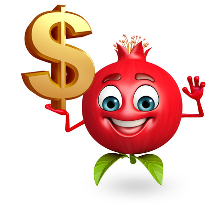 3d rendered illustration of pomegranate cartoon character with dollar sign