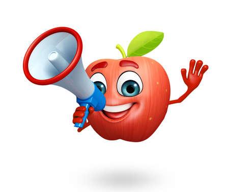 cartoonize: 3d rendered illustration of apple cartoon character with loudspeaker