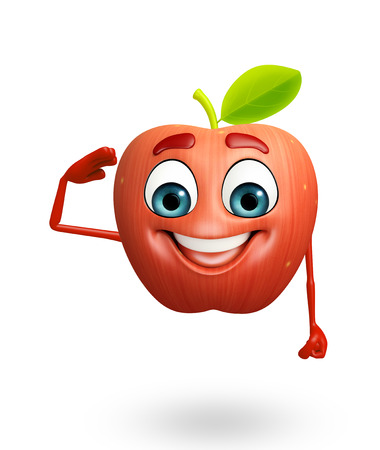 dimentional: 3d rendered illustration of apple cartoon character Stock Photo