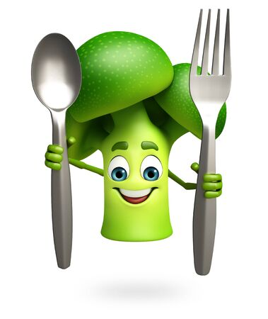 dimentional: 3d rendered illustration of broccoli cartoon character