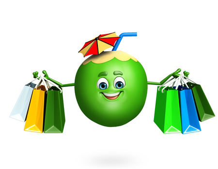 dimentional: 3d rendered illustration of coconut cartoon character Stock Photo