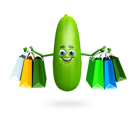 cucumber: 3d rendered illustration of cucumber cartoon character Stock Photo