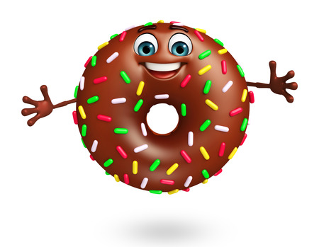 doughnut: 3d rendered illustration of donuts cartoon character Stock Photo
