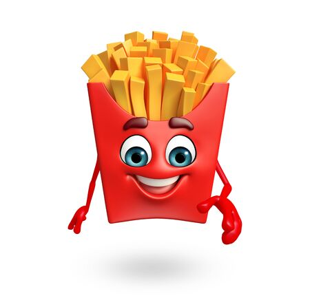 french fries: 3d rendered illustration of french fries cartoon character