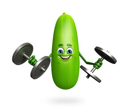 nutrientes: 3d rindió la ilustración de personaje de dibujos animados de pepino Foto de archivo