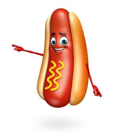 frank: 3d rendered illustration of hot dog cartoon character