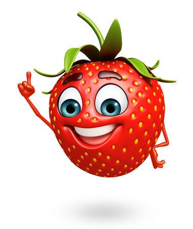 イチゴの漫画のキャラクターの 3 d レンダリングされたイラストレーション 写真素材