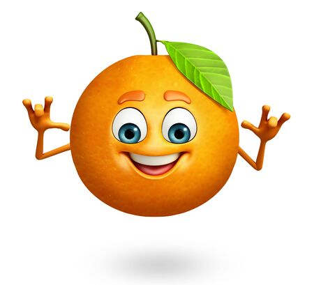 オレンジ色の漫画のキャラクターの 3 d レンダリングされたイラストレーション 写真素材