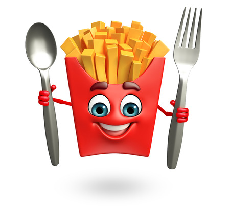 crunchy: 3d rendered illustration of french fries cartoon character