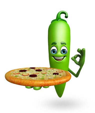 chilly: 3d rendered illustration of green chili cartoon character