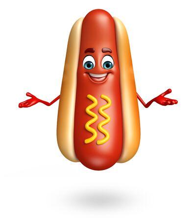 picnic food: 3d rendered illustration of hot dog cartoon character