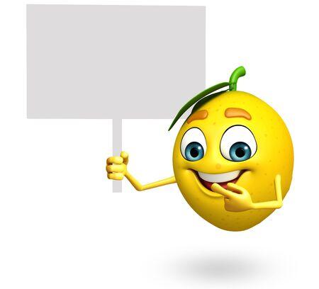 antioxidant: 3d rendered illustration of lemon cartoon character