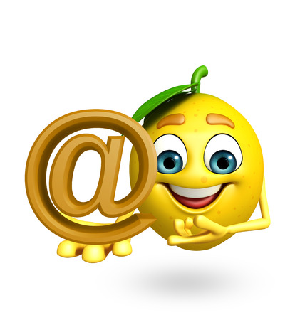 antioxidant: 3d rendered illustration of lemon cartoon character with at the rate sign Stock Photo