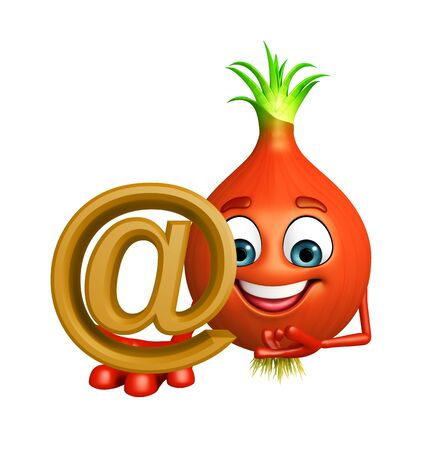 intact: 3d rendered illustration of onion cartoon character with at the rate sign