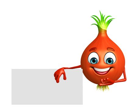 onion slice: 3d rendered illustration of onion cartoon character