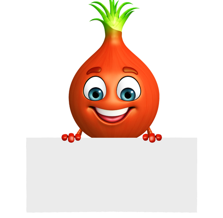 intact: 3d rendered illustration of onion cartoon character